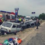 Taşköprü Yolunda İki Otomobil Çarpıştı, 7 Yaralı…