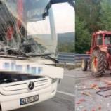 Yolcu Otobüsü İle Karpuz Yüklü Traktör Çarpıştı: 2 Yaralı…