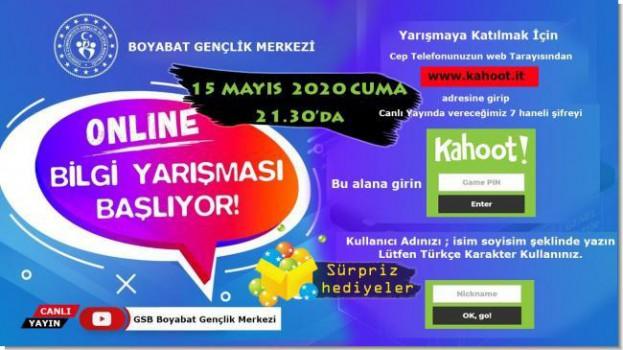 Boyabat Gençlik Merkezi Müdürlüğü 19 Mayıs Atatürk'ü Anma, Gençlik ve Spor Bayramı onuruna Şiir, Kompozisyon, Bilgi ve Resim yarışması düzenledi….
