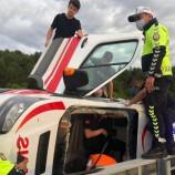 112 Acil Sağlık Ekibi Vaka Dönüşü Kaza Yaptı…