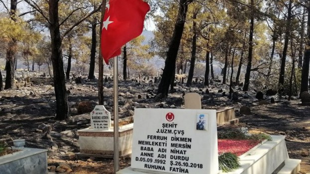 Çıkan Yangında Şehidimizin Mezarı Ve Bayrağımız Sapasağlam Ayakta Kaldı…